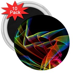 Dancing Northern Lights, Abstract Summer Sky  3  Button Magnet (10 pack)