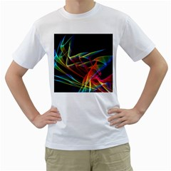 Dancing Northern Lights, Abstract Summer Sky  Men s Two-sided T-shirt (White)
