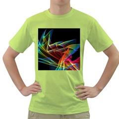 Dancing Northern Lights, Abstract Summer Sky  Men s T-shirt (Green)