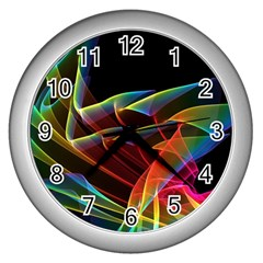 Dancing Northern Lights, Abstract Summer Sky  Wall Clock (Silver)