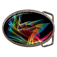 Dancing Northern Lights, Abstract Summer Sky  Belt Buckle (Oval)
