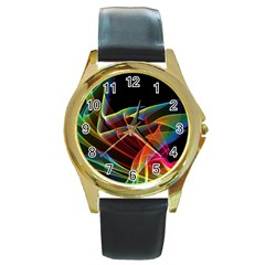 Dancing Northern Lights, Abstract Summer Sky  Round Leather Watch (gold Rim)