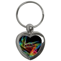 Dancing Northern Lights, Abstract Summer Sky  Key Chain (Heart)