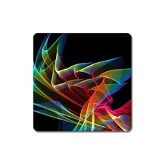 Dancing Northern Lights, Abstract Summer Sky  Magnet (Square)