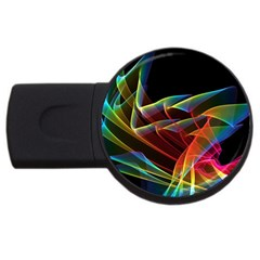 Dancing Northern Lights, Abstract Summer Sky  1GB USB Flash Drive (Round)