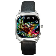 Dancing Northern Lights, Abstract Summer Sky  Square Leather Watch