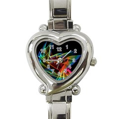 Dancing Northern Lights, Abstract Summer Sky  Heart Italian Charm Watch