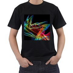 Dancing Northern Lights, Abstract Summer Sky  Men s Two Sided T-shirt (Black)