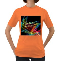 Dancing Northern Lights, Abstract Summer Sky  Women s T Shirt (colored)
