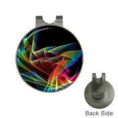 Dancing Northern Lights, Abstract Summer Sky  Hat Clip with Golf Ball Marker