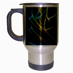 Dancing Northern Lights, Abstract Summer Sky  Travel Mug (Silver Gray)