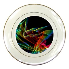 Dancing Northern Lights, Abstract Summer Sky  Porcelain Display Plate