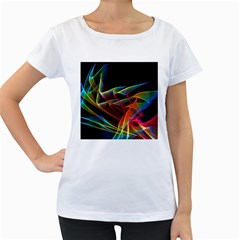 Dancing Northern Lights, Abstract Summer Sky  Women s Loose-Fit T-Shirt (White)