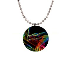 Dancing Northern Lights, Abstract Summer Sky  Button Necklace