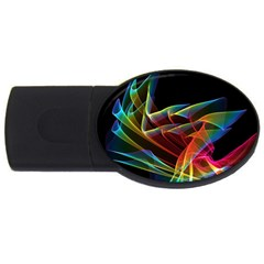 Dancing Northern Lights, Abstract Summer Sky  4GB USB Flash Drive (Oval)