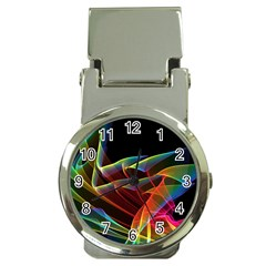 Dancing Northern Lights, Abstract Summer Sky  Money Clip with Watch