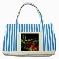 Dancing Northern Lights, Abstract Summer Sky  Blue Striped Tote Bag