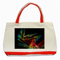 Dancing Northern Lights, Abstract Summer Sky  Classic Tote Bag (red)