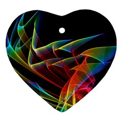 Dancing Northern Lights, Abstract Summer Sky  Heart Ornament (Two Sides)