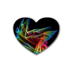 Dancing Northern Lights, Abstract Summer Sky  Drink Coasters 4 Pack (Heart)