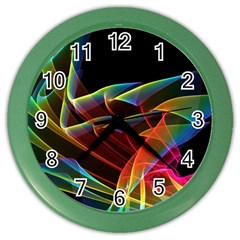 Dancing Northern Lights, Abstract Summer Sky  Wall Clock (Color)