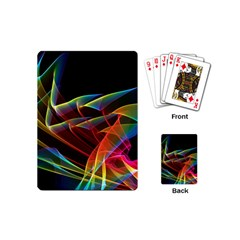Dancing Northern Lights, Abstract Summer Sky  Playing Cards (Mini)