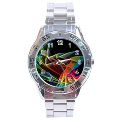 Dancing Northern Lights, Abstract Summer Sky  Stainless Steel Watch