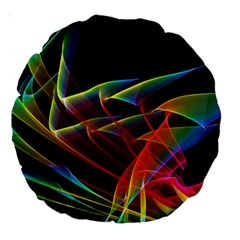 Dancing Northern Lights, Abstract Summer Sky  18  Premium Round Cushion