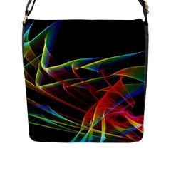 Dancing Northern Lights, Abstract Summer Sky  Flap Closure Messenger Bag (Large)