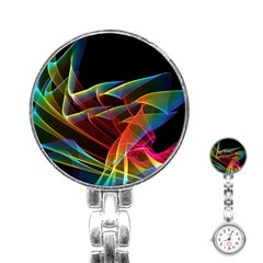 Dancing Northern Lights, Abstract Summer Sky  Stainless Steel Nurses Watch