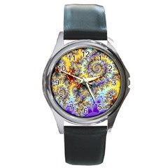 Desert Winds, Abstract Gold Purple Cactus  Round Leather Watch (Silver Rim)
