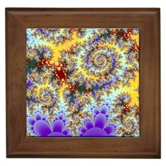 Desert Winds, Abstract Gold Purple Cactus  Framed Ceramic Tile