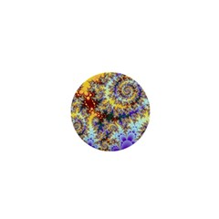 Desert Winds, Abstract Gold Purple Cactus  1  Mini Button Magnet