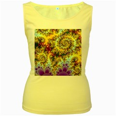 Desert Winds, Abstract Gold Purple Cactus  Women s Tank Top (Yellow)
