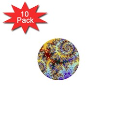 Desert Winds, Abstract Gold Purple Cactus  1  Mini Button (10 pack)