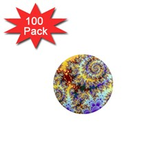 Desert Winds, Abstract Gold Purple Cactus  1  Mini Button Magnet (100 pack)