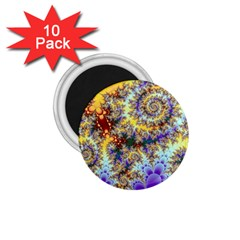 Desert Winds, Abstract Gold Purple Cactus  1 75  Button Magnet (10 Pack)