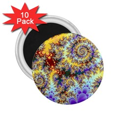 Desert Winds, Abstract Gold Purple Cactus  2.25  Button Magnet (10 pack)