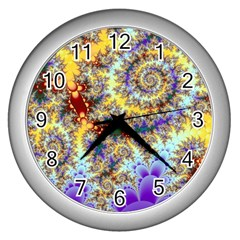 Desert Winds, Abstract Gold Purple Cactus  Wall Clock (silver)