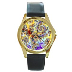 Desert Winds, Abstract Gold Purple Cactus  Round Leather Watch (Gold Rim)
