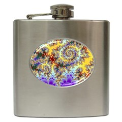 Desert Winds, Abstract Gold Purple Cactus  Hip Flask