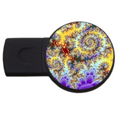 Desert Winds, Abstract Gold Purple Cactus  1GB USB Flash Drive (Round)