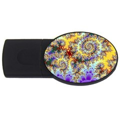 Desert Winds, Abstract Gold Purple Cactus  1GB USB Flash Drive (Oval)