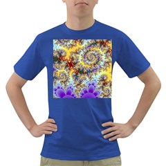 Desert Winds, Abstract Gold Purple Cactus  Men s T-shirt (Colored)