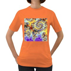 Desert Winds, Abstract Gold Purple Cactus  Women s T-shirt (Colored)