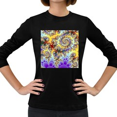 Desert Winds, Abstract Gold Purple Cactus  Women s Long Sleeve T-shirt (Dark Colored)