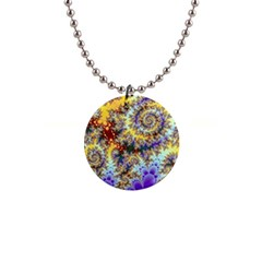Desert Winds, Abstract Gold Purple Cactus  Button Necklace