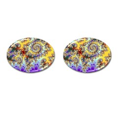 Desert Winds, Abstract Gold Purple Cactus  Cufflinks (Oval)