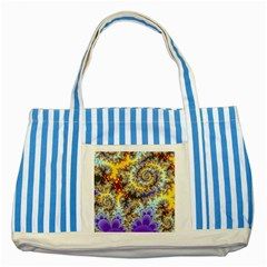 Desert Winds, Abstract Gold Purple Cactus  Blue Striped Tote Bag
