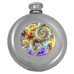 Desert Winds, Abstract Gold Purple Cactus  Hip Flask (Round)